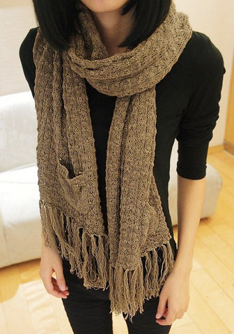 Brown Tassel Knit Shawl