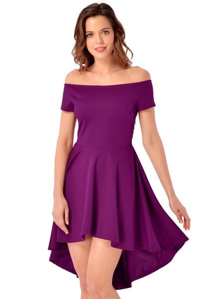 Front view of model in deep orchid off-shoulder high-low skater dress
