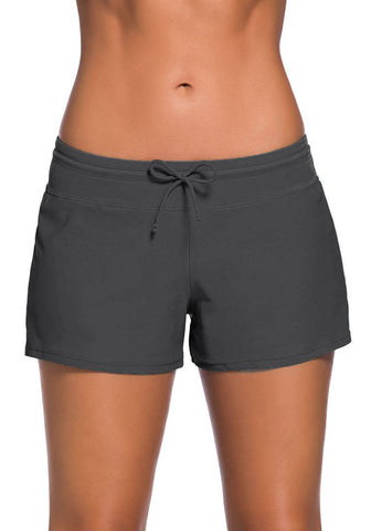 Grey Drawstring Side-Slit Board Shorts