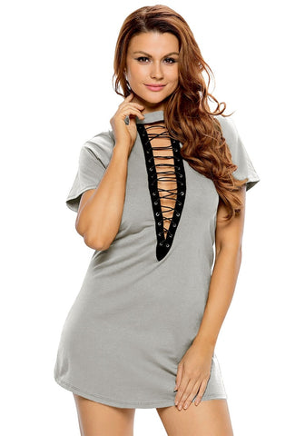 Grey Lace-Up Tee Dress