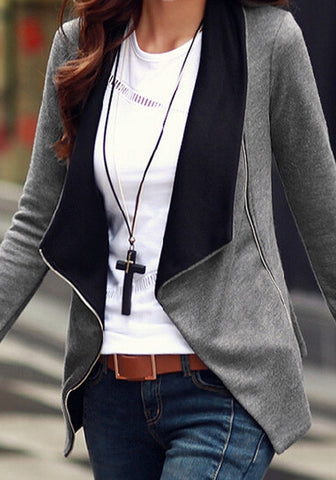 Grey Oblique Zipper Draped Cardigan