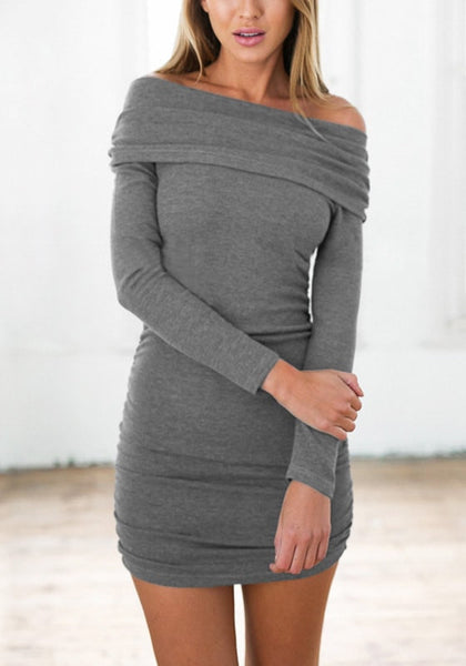 Front view of model in grey off-shoulder bodycon dress