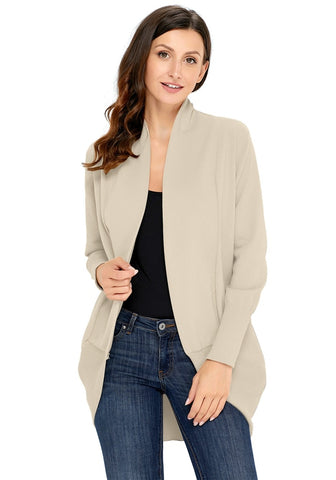 Light Khaki Ribbed Cuff Asymmetrical Hem Cardigan