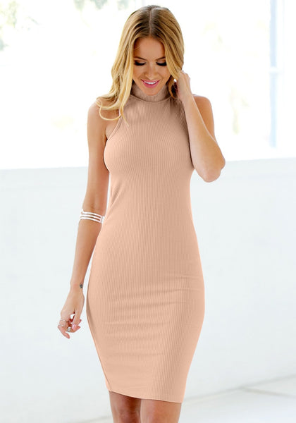 Front view of model in mock neck bodycon midi dress