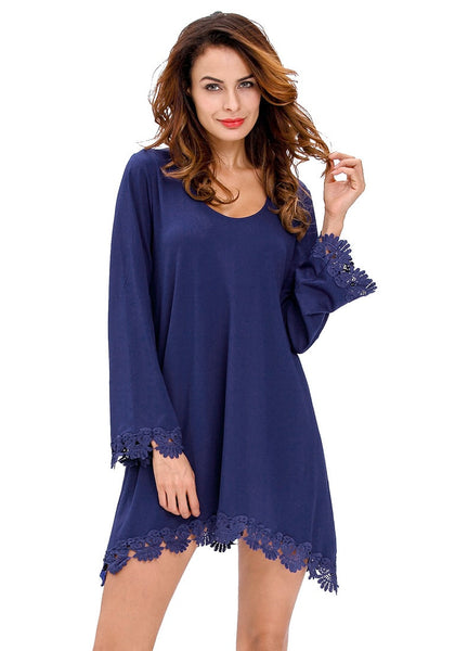Front view of model in navy blue lace trim sleeves shift dress