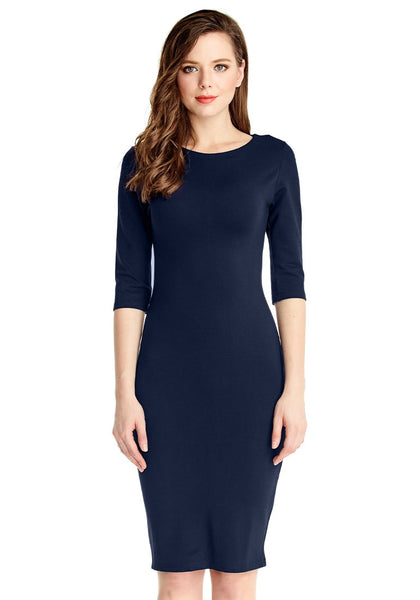 Front view of model in navy classic bodycon midi dress