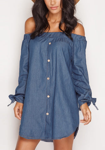 Off-Shoulder Chambray Tunic