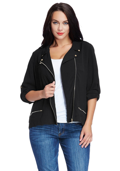 Front view of model in plus size front-zip black blazer