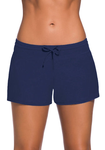 Royal Blue Drawstring Side-Slit Board Shorts