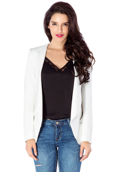 Front view of model in white draped blazer