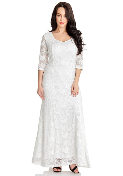 Front view of model in white floral lace overlay sweetheart neckline maxi dress