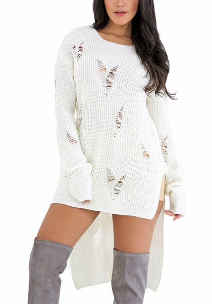 Front view of model in white high-low distressed sweater