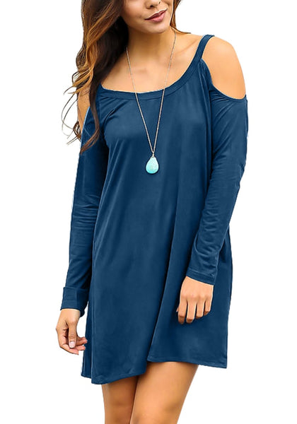 Front view of model posing in blue cold-shoulder tunic dress