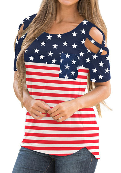 Front view of model wearing American flag crisscross cutout shoulder blouse