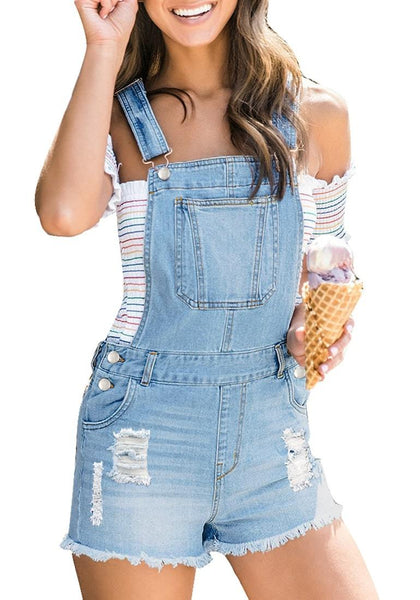 Light Blue Raw Hem Ripped Shorts Bib Denim Overall