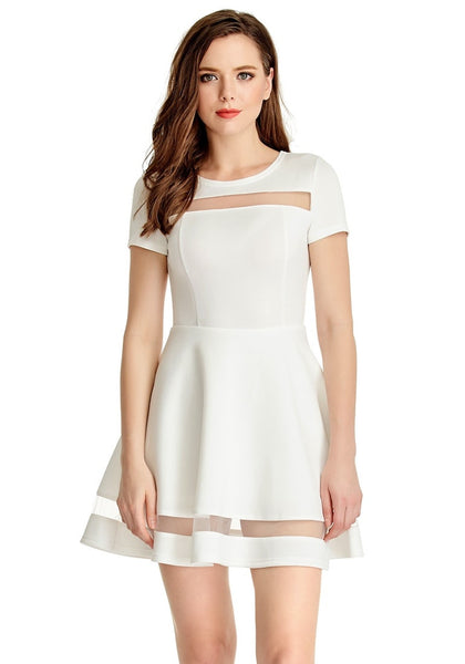 Front view of model wearing White Mesh-Panel Short-Sleeve Skater Dress