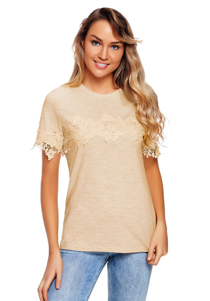Front view of model wearing apricot floral crochet short sleeves blouse