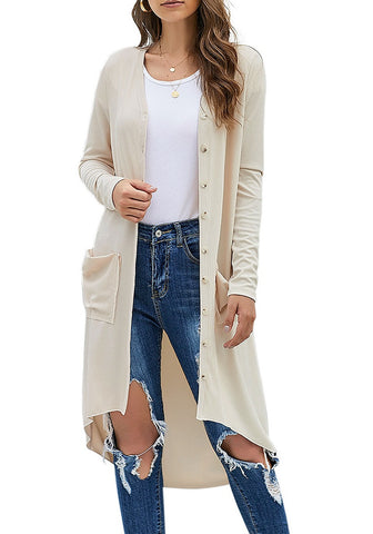 Apricot High-Low Button-Up Long Knit Cardigan