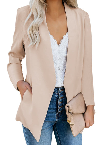 Front view of model wearing apricot open-front side pockets blazer