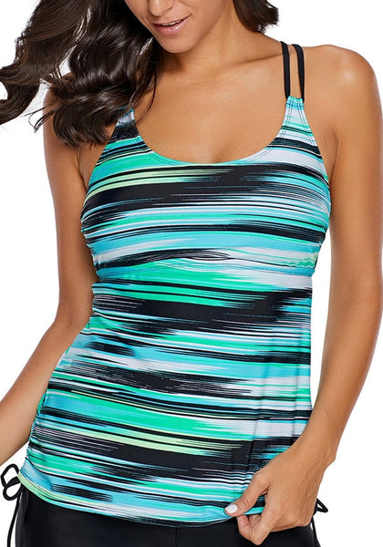 Front view of model wearing aqua abstract stripe-print strappy tankini top
