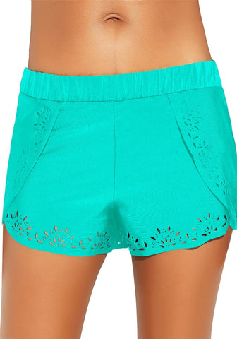Aqua Blue Crochet Cutout Overlay Swim Shorts
