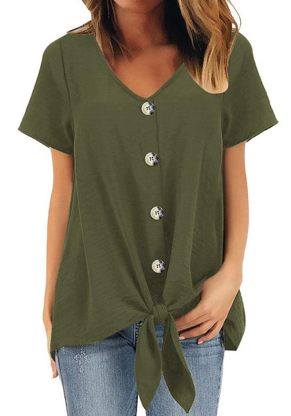 Front view of model wearing army green V-neckline short sleeves button-up tie-front top