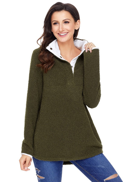 Front view of model wearing army green button-front fleece pullover