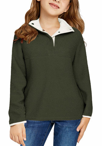 Army Green Button-Front Girl's Fleece Pullover