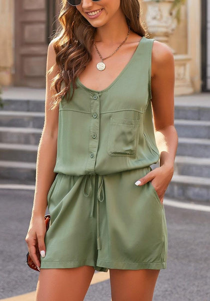 Army Green Button-Up Drawstring-Waist Sleeveless Romper