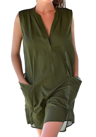 Army Green Notched V-Neck Sleeveless Beach Cover-Up