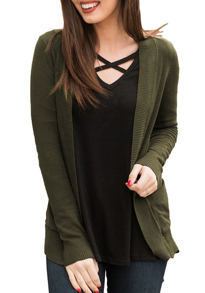 Front view of model wearing army green ribbed trim knit open-front cardigan