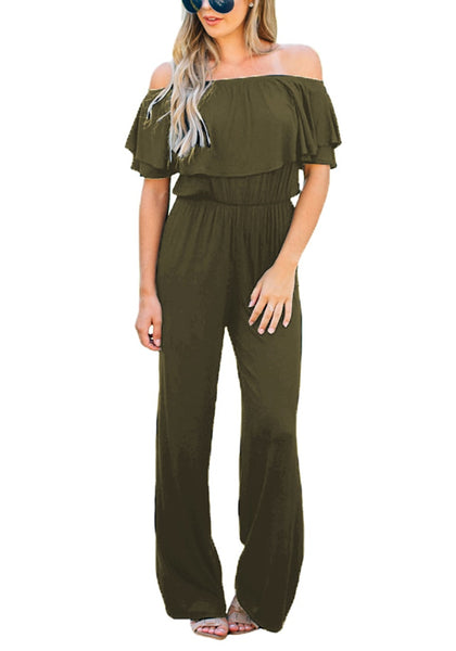 Front view of model wearing army green ruffled off-shoulder jumpsuit