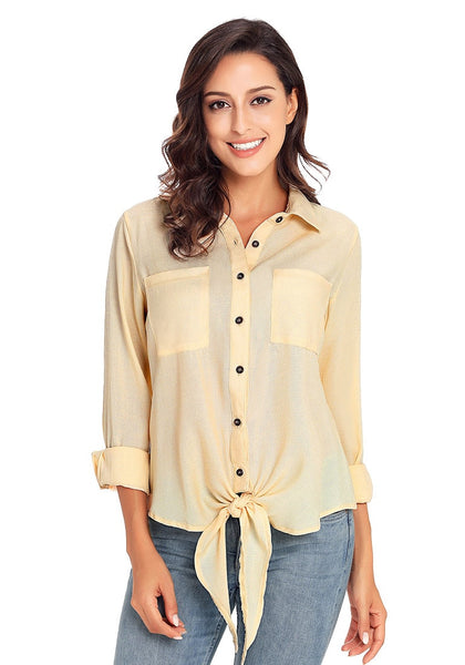 Front view of model wearing beige 34 sleeves tie-front button-up blouse