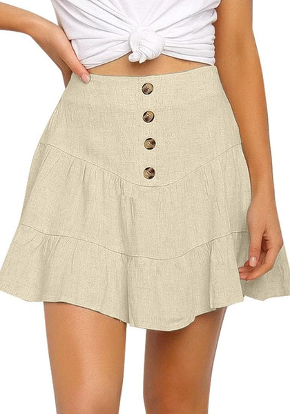 Front view of model wearing beige button-front elastic-back ruffled mini skater skirt