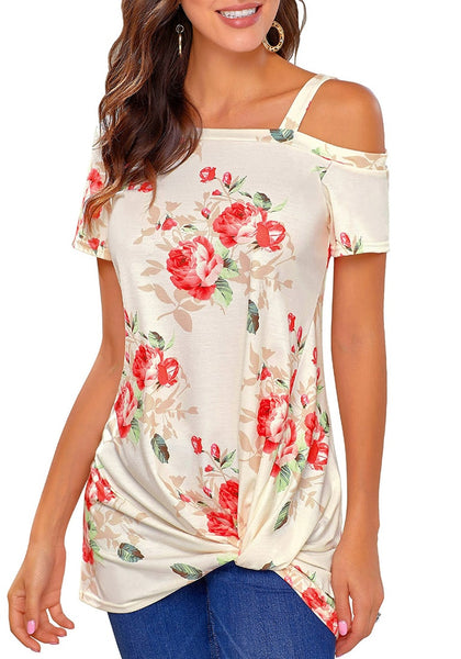 Front view of model wearing beige floral front twist knot cold-shoulder blouse