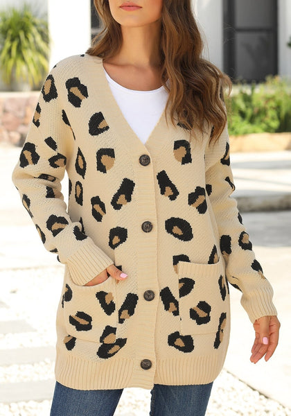 Front view of model wearing beige leopard-print button-up sweater cardigan