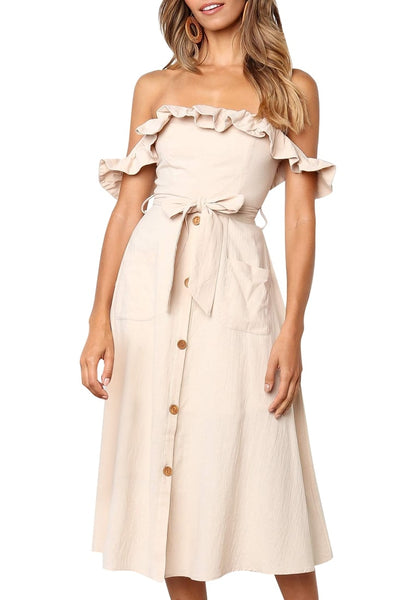 Beige Ruffled Off-Shoulder Belted Midi Skater Dress