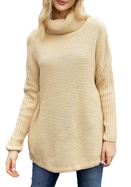 Front view of model wearing beige turtleneck ribbed knit pullover sweater