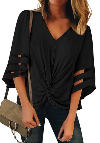 Black 3/4 Bell Mesh Panel Sleeves V-Neckline Front Twist Knot Loose Top