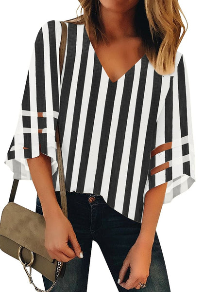 Front view of  model wearing black 34 bell mesh panel sleeves V-neckline striped loose top