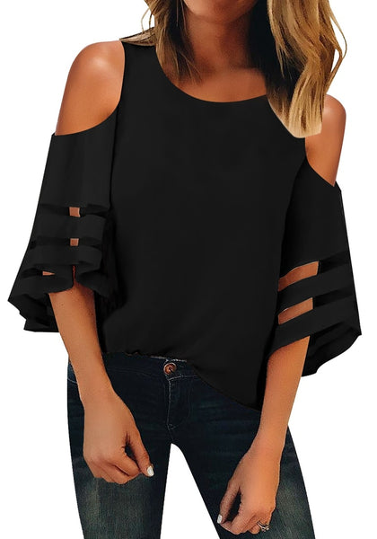 Front view of model wearing black 34 bell mesh panel sleeves cold-shoulder loose top