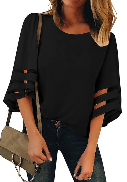 Front view of model wearing black 34 bell mesh panel sleeves crew neck loose top