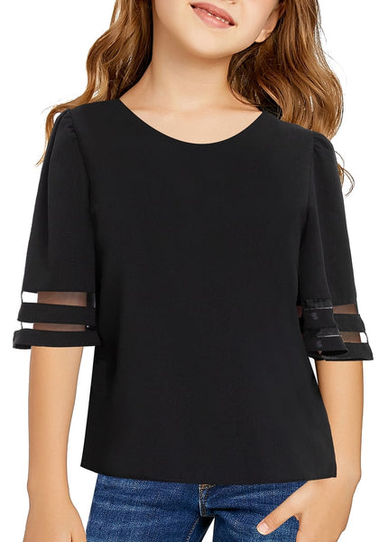 Front view of model wearing black 3/4 bell mesh panel sleeves girl top