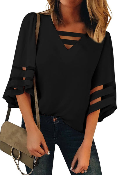 Front view of model wearing black 34 bell mesh panel sleeves strappy V-neckline loose top