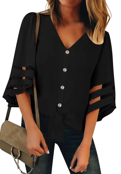 Front view of model wearing black 34 bell mesh panel sleeves tie-front button-up loose top