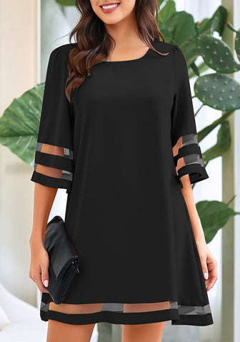 e4267dcfdc8 Black 3 4 Bell Sleeves Mesh Panel Crew Neckline Loose Dress