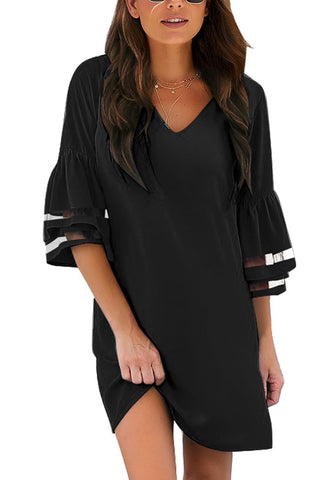 Black 3/4 Bell Mesh Sleeves V-Neck Mini Shift Dress