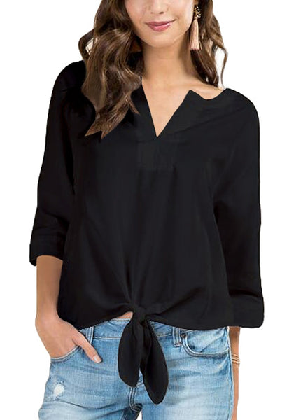 Front view of model wearing black V-neck 3/4 sleeves knot tie-front blouse