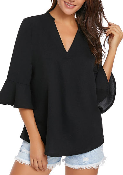 Front view of model wearing black V-neck flare sleeves loose chiffon blouse