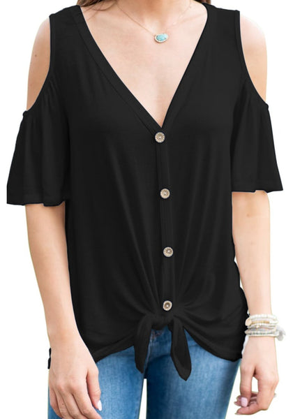 Front view of model wearing black V-neckline button-up cold-shoulder tie-front blouse